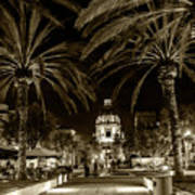 Pasadena City Hall After Dark In Sepia Tone Art Print