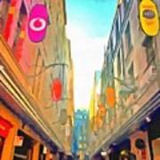Passage Between Colorful Buildings Art Print