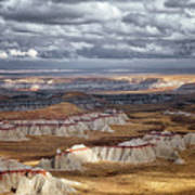 Passing Thunderstorms And Sun Breaks Highlight The Banded Hills Of Arizona's  Ha Ho No Geh Canyon. Art Print