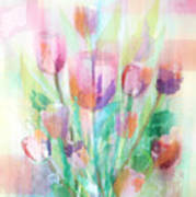 Pastel Tulips Collage Art Print