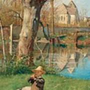Pastoral Scene On The Bank Of The Loing Art Print