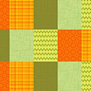 Patchwork Patterns - Orange And Olive Art Print