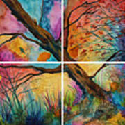 Patchwork Sky Tree Painting With Colorful Sky Art Print