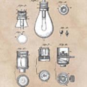patent art Edison 1890 Lamp base Art Print