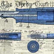 Patent, Old Pen Patent,blue Art Drawing On Vintage Newspaper Art Print