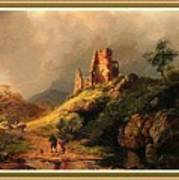 Path Next To The Ruins Of Belloque Castle L B With Decorative Ornate Printed Frame. Art Print