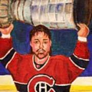 Patrick Roy Wins The Stanley Cup Art Print