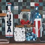 Patriotic Bottles And Jars Art Print