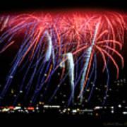 Patriotic Fireworks S F Bay Art Print