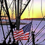 Patriotic Fisherman Art Print