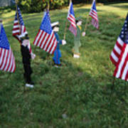 Patriotic Lawn Ornaments Represent Print by Stephen St. John