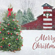 Patriotic Merry Christmas Art Print