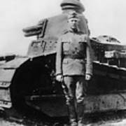 Patton Beside A Renault Tank - Wwi Art Print
