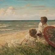 Paul Fischer, 1860-1934, Girls On The Beach Art Print