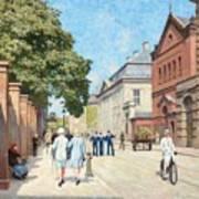 Paul Fischer, Sunny Street Scene, Bredgade, Copenhagen. Art Print