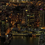 Paulus Hook, Jersey City Aerial Night View Art Print