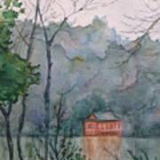 Pavilion At River's Edge China Art Print