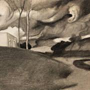 Paysage Aux Lourdes Nuages Art Print