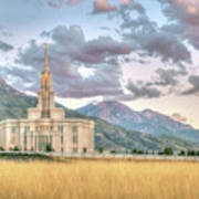 Payson Utah Lds Temple, Sunset View Of The Mountains And Grass Art Print