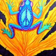 Peace Frog On Fall Leaf Art Print