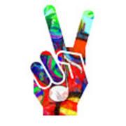 Peace Hippy Paint Hand Sign Art Print