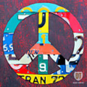 Peace License Plate Art Art Print