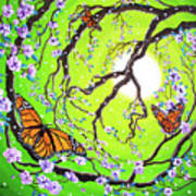 Peace Tree With Monarch Butterflies Art Print