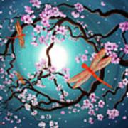 Peace Tree With Orange Dragonflies Art Print
