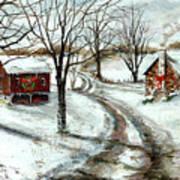 Peaceful Christmas Farm Art Print