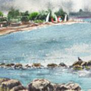 Peaceful Morning At The Harbor  Art Print