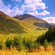 Peaceful Sunny Day In Mountains. Rest And Be Thankful. Scotland Art Print by Jenny Rainbow