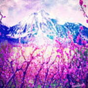 Peach Blossoms And Mount Lanborn Vi Art Print