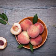 Peaches On A Dark Wooden Background Art Print