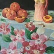 Peaches On Floral Tablecloth Art Print