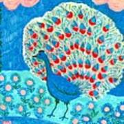 Peacock And Lily Pond Art Print