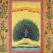Peacock Dancing Painting Flower Bird Tree Forest Indian Miniature Painting Watercolor Artwork Art Print