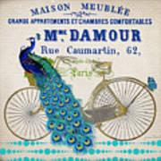 Peacock On Bicycle-jp3607 Art Print