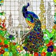 Peacock Stained Glass Art Print