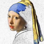 Pearl Earring Digital Art Art Print