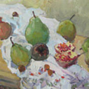 Pears Figs And Young Pomegranates Art Print