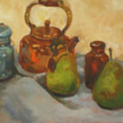 Pears With Copper Kettle Art Print