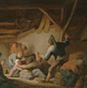 Peasant Brawl In A Tavern Art Print