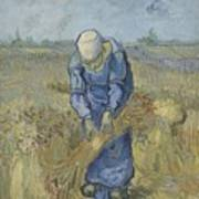 Peasant Woman Binding Sheaves After Millet Saint Remy De Provence  September 1889 Vincent Van Gogh Art Print
