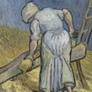 Peasant Woman Bruising Flax After Millet Saint Remy De Provence September 1889 Vincent Van Gogh  Art Print