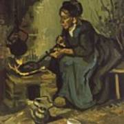 Peasant Woman Cooking By A Fireplace Art Print
