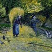 Peasants Carrying Straw Montfoucault 1875 Camille Pissarro Art Print