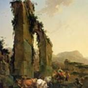 Peasants With Cattle By A Ruined Aqueduct Art Print