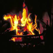 Peat Fire In Ireland Art Print
