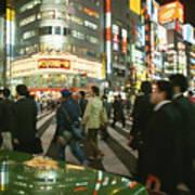 Pedestrians Cross A Crowded Tokyo Art Print by Justin Guariglia