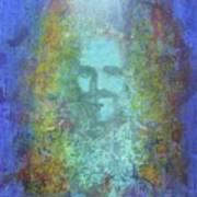 Peeking Thru Maya 2 In Blue Art Print